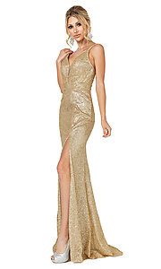 Image of v-neck gold glitter long formal prom dress. Style: DQ-21-4169 Front Image