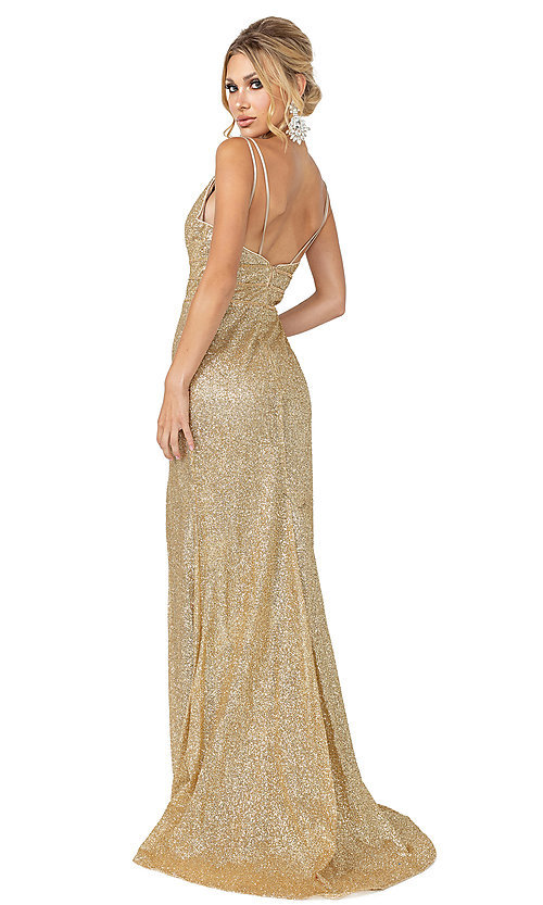 Image of v-neck gold glitter long formal prom dress. Style: DQ-21-4169 Back Image