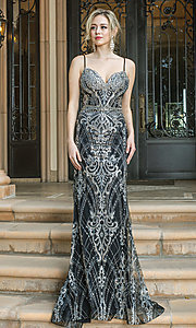 Image of silver-embellished long black formal prom dress. Style: DQ-21-4202 Front Image
