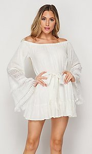 Image of short casual cotton dress with long bell sleeves. Style: LAS-BIG-21-PD3484 Front Image