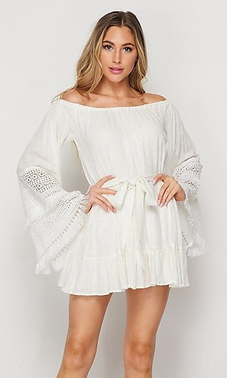 Short Casual Cotton Dress with Long Bell Sleeves