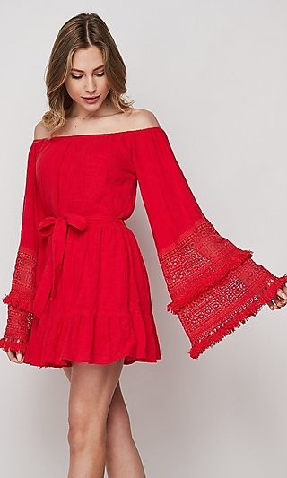 Lace & Fringe Bell Sleeve Short Casual Cotton Dress