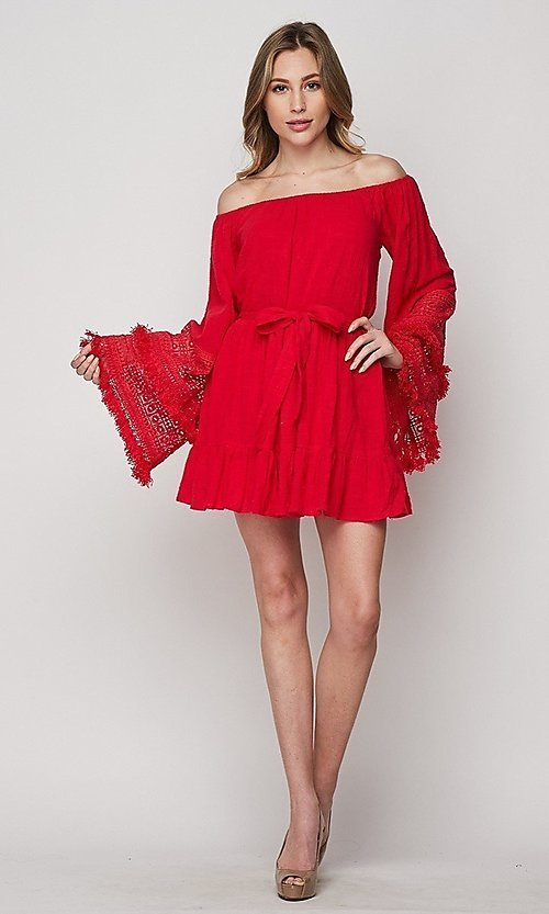 Image of short casual cotton dress with long bell sleeves. Style: LAS-BIG-21-PD3484 Detail Image 3