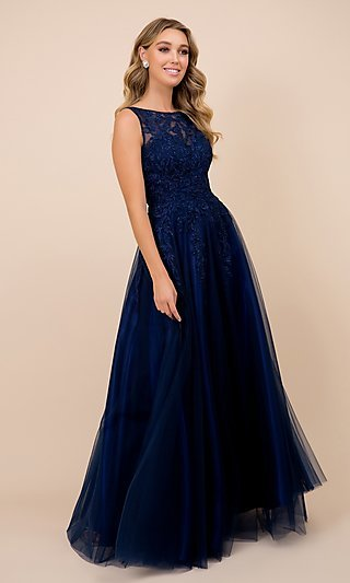 Navy Blue Long Prom Dress with Ball-Gown Skirt