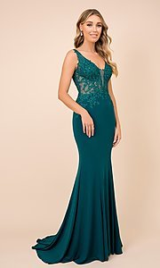 Image of embroidered illusion-bodice long prom dress. Style: NA-21-J326 Front Image