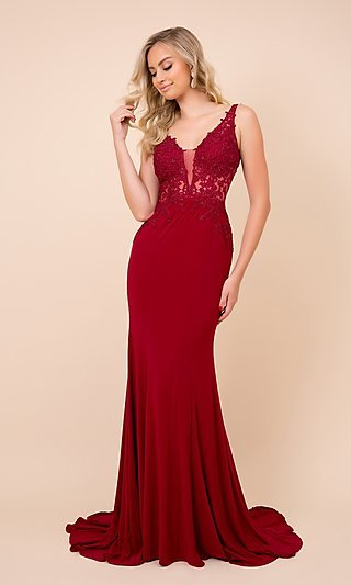 Embroidered Illusion-Bodice Long Prom Dress