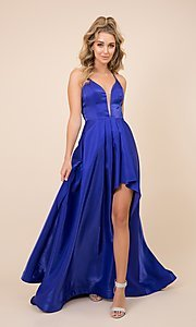 Image of high-low v-neck long prom dress with lace-up back. Style: NA-21-M333 Front Image