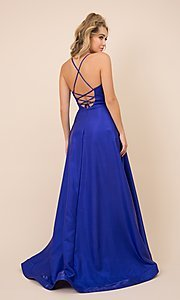 Image of high-low v-neck long prom dress with lace-up back. Style: NA-21-M333 Back Image