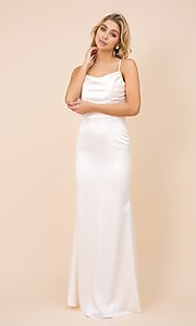 Image of cowl-neck classic long satin formal prom dress. Style: NA-21-C302 Detail Image 1