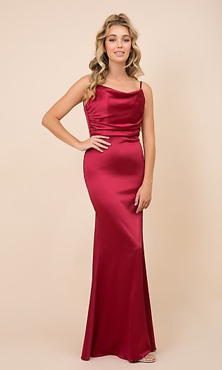 Cowl-Neck Classic Long Satin Formal Prom Dress
