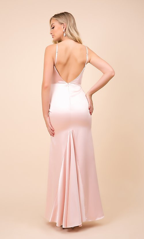 Image of cowl-neck classic long satin formal prom dress. Style: NA-21-C302 Back Image