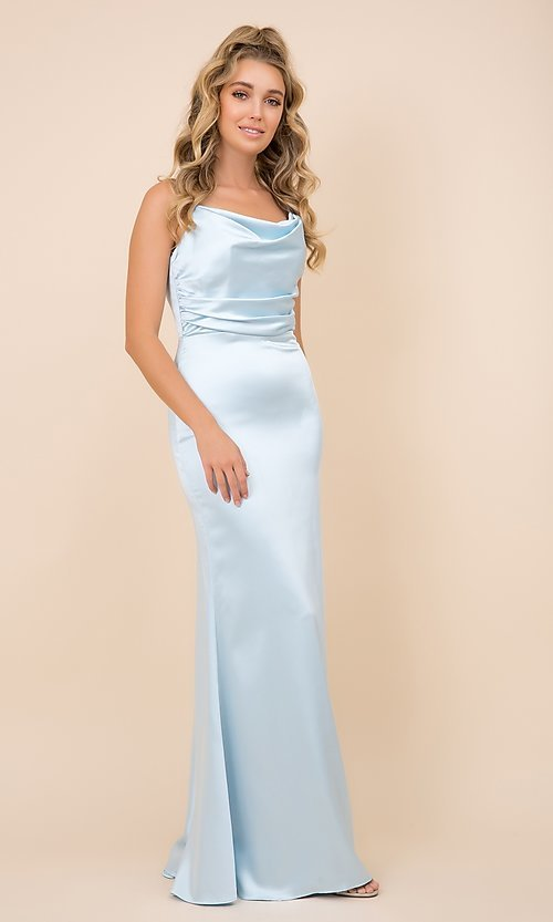 Image of cowl-neck classic long satin formal prom dress. Style: NA-21-C302 Front Image
