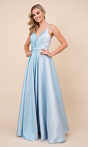 Image of sparkly long blue ball-gown-style prom dress. Style: NA-21-R347 Front Image