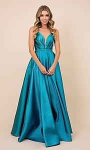 Image of sparkly long blue ball-gown-style prom dress. Style: NA-21-R347 Detail Image 1