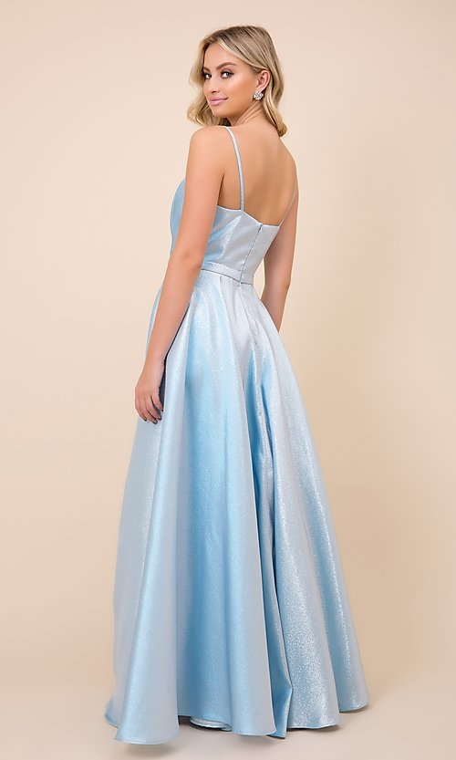 Image of sparkly long blue ball-gown-style prom dress. Style: NA-21-R347 Back Image