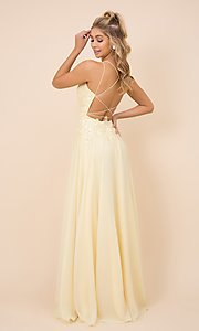 Image of long prom dress with sparkly embroidered bodice. Style: NA-21-C414 Back Image