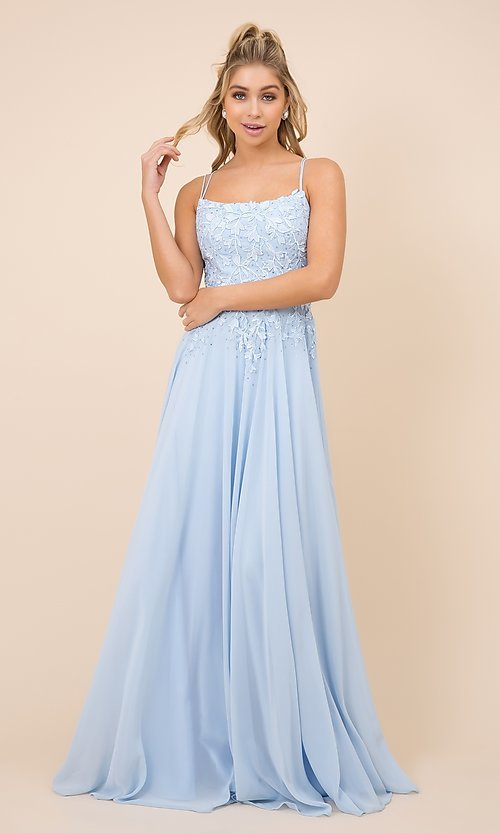 Image of long prom dress with sparkly embroidered bodice. Style: NA-21-C414 Detail Image 2