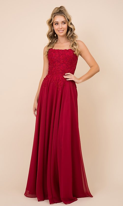 Image of long prom dress with sparkly embroidered bodice. Style: NA-21-C414 Detail Image 1