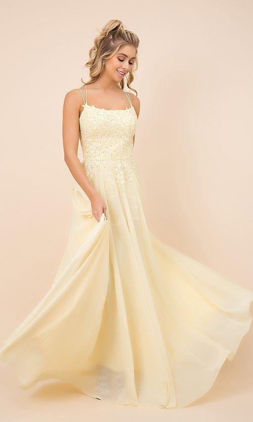 Image of long prom dress with sparkly embroidered bodice. Style: NA-21-C414 Front Image