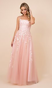 Image of lace-up tulle long prom ball gown with embroidery. Style: NA-21-C415 Front Image
