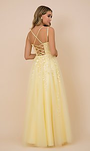 Image of lace-up tulle long prom ball gown with embroidery. Style: NA-21-C415 Detail Image 2