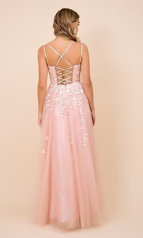 Image of lace-up tulle long prom ball gown with embroidery. Style: NA-21-C415 Back Image