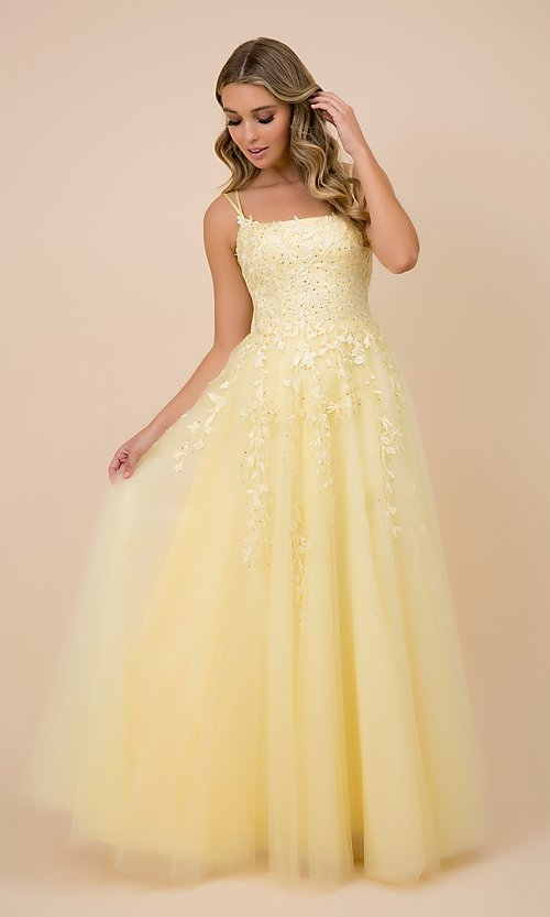 Image of lace-up tulle long prom ball gown with embroidery. Style: NA-21-C415 Detail Image 1