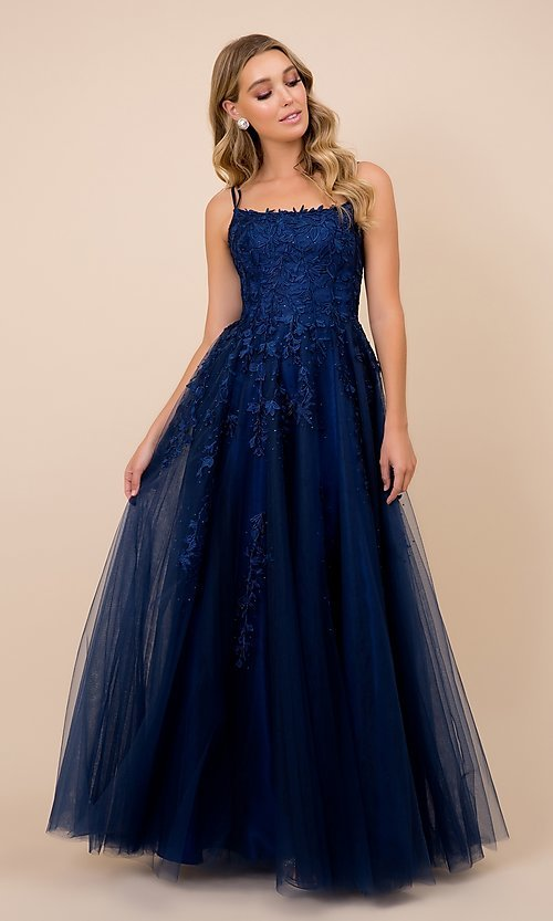 Image of lace-up tulle long prom ball gown with embroidery. Style: NA-21-C415 Detail Image 3