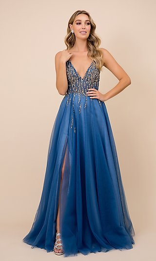 Long Prom Dress with Embellished Sheer Bodice