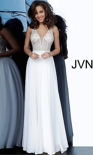 Beaded Sheer-Bodice Long JVN by Jovani Prom Dress