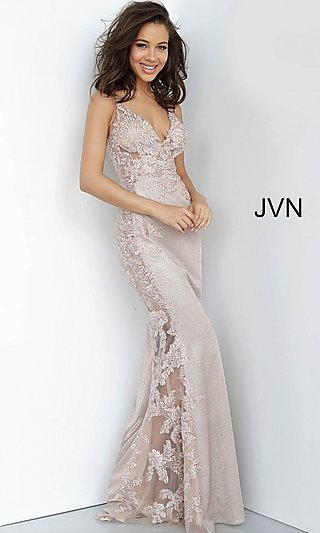 JVN by Jovani Sheer-Panel Long Glitter Prom Dress