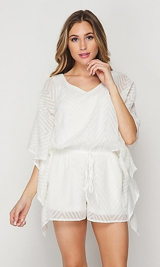 Casual Woven V-Neck Short Romper with Sleeves