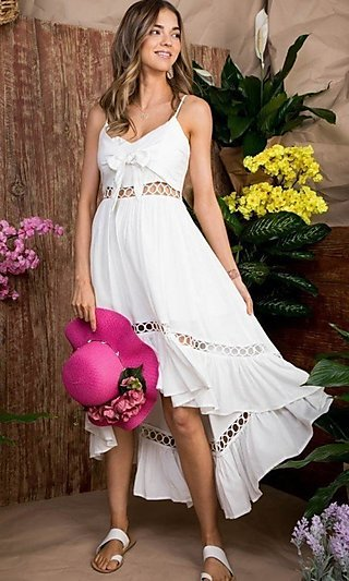 Front-Tie Cut-Out High-Low Casual Party Dress