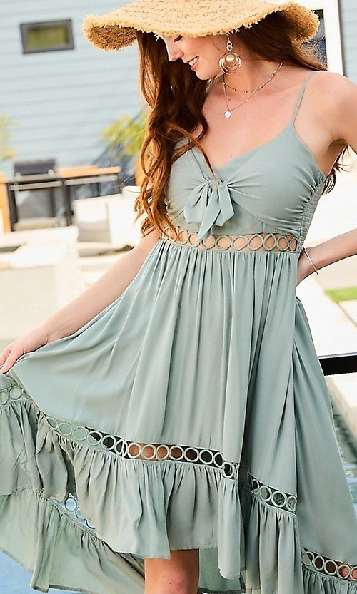 Image of front-tie cut-out high-low casual party dress. Style: LAS-MST-21-LD50338 Detail Image 2