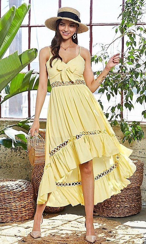 Image of front-tie cut-out high-low casual party dress. Style: LAS-MST-21-LD50338 Detail Image 1