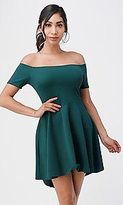 Image of off-the-shoulder high-low short casual party dress. Style: LAS-LSC-21-25977 Detail Image 1