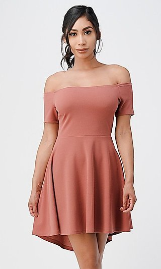 Off-the-Shoulder High-Low Short Casual Party Dress