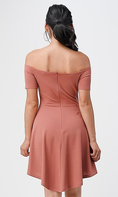 Image of off-the-shoulder high-low short casual party dress. Style: LAS-LSC-21-25977 Back Image
