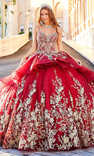 Full Quinceanera Ball Gown with Golden Lace