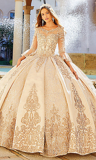 Gold Bell Sleeve Quinceanera Ball Gown by Princesa