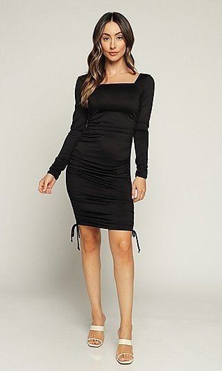 Ruched Tight Long Sleeve Short Casual Dress