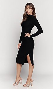 Image of mock-neck long sleeve knee-length party dress. Style: LAS-HAH-21-JD41974L Detail Image 1
