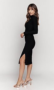 Image of mock-neck long sleeve knee-length party dress. Style: LAS-HAH-21-JD41974L Detail Image 3