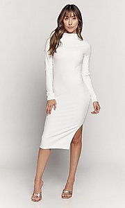 Image of mock-neck long sleeve knee-length party dress. Style: LAS-HAH-21-JD41974L Detail Image 5
