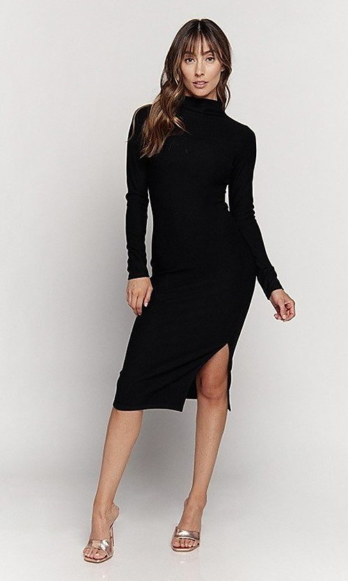 Image of mock-neck long sleeve knee-length party dress. Style: LAS-HAH-21-JD41974L Front Image