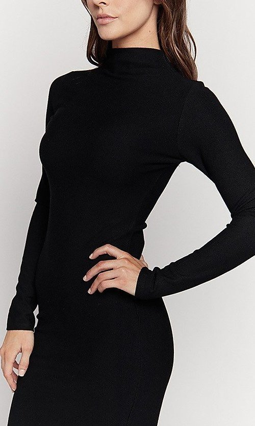 Image of mock-neck long sleeve knee-length party dress. Style: LAS-HAH-21-JD41974L Detail Image 2