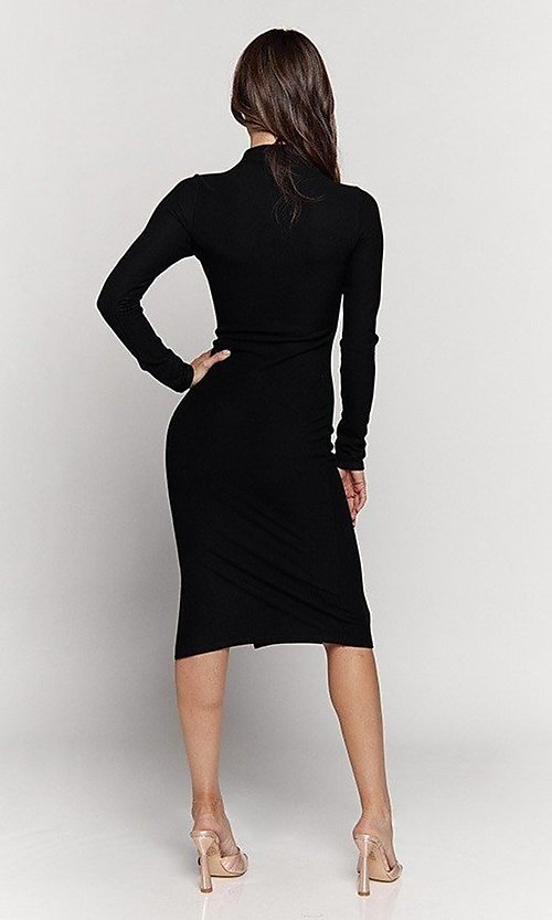 Image of mock-neck long sleeve knee-length party dress. Style: LAS-HAH-21-JD41974L Detail Image 4