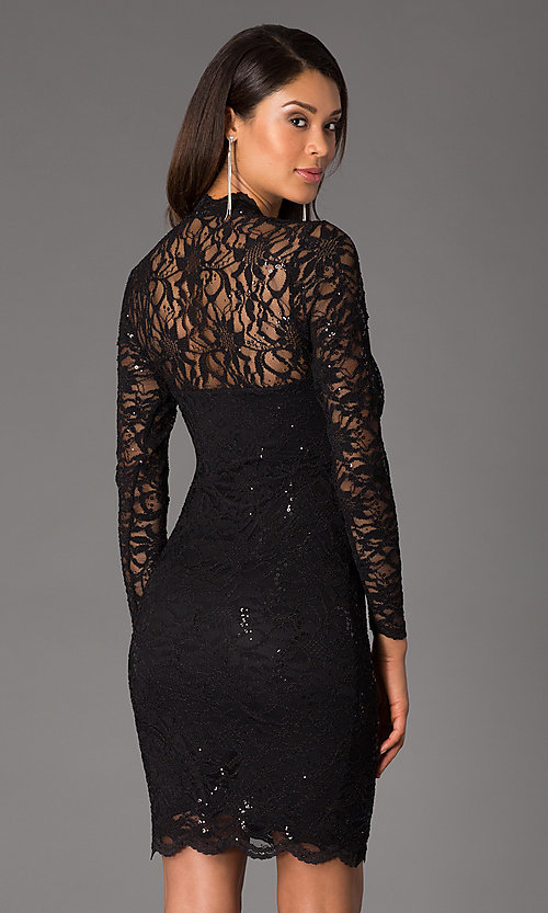 Image of long sleeve knee-length allover lace party dress. Style: JU-MA-21-261800 Back Image