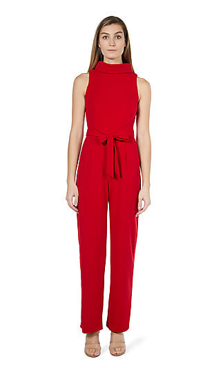 Semi-Formal High-Neck Red Jumpsuit by Marina