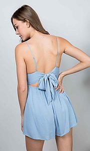 Image of v-neck short peri blue casual party romper. Style: LAS-ILL-21-IM4569 Back Image